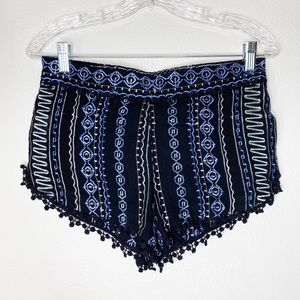 Gypsy 05 Blue Crochet Embroidered Shorts
